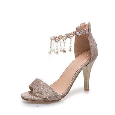 LvYuan Da donna-Sandali-Matrimonio Formale Serata e festa-Comoda Club Shoes-A stiletto-Vernice-Rosso Argento Dorato Red