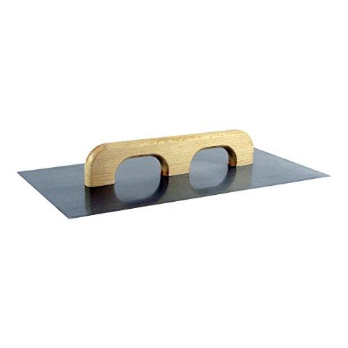 STAHL-AUFZIEHPLATTE 500 x 260 x 1,2 mm, blank, Doppel-Holzgriff