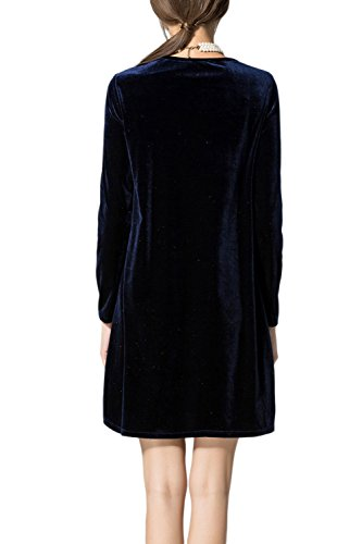 Damen elegante Long Sleeve Mini Etuikleid Black