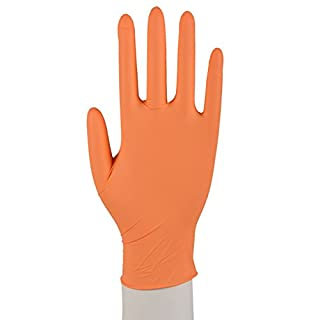 1000 x Nitril Handschuhe Puderfrei Texturiert Einmalhandschuhe Einweg XS-XL Orange Größe XL (9-10)