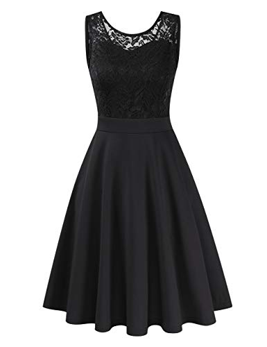 Clearlove Damen 50er Vintage Retro Kleid Party Kurzarm Rockabilly Cocktail Abendkleider, S,   Schwarz