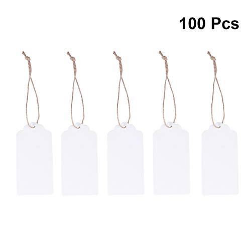 PIXNOR Gift Tags 100pcs 90 * 45mm festoneado blanco