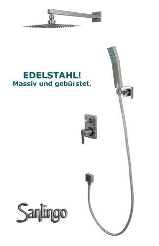 EDELSTAHL Regendusche Unterputz Set 2-Wege-Armatur Handbrause und Zubehör von Sanlingo