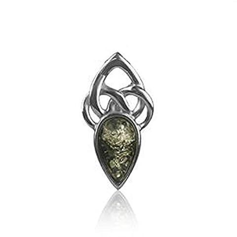Anhänger Sterling-Silber 925 Bernstein keltisch Grün