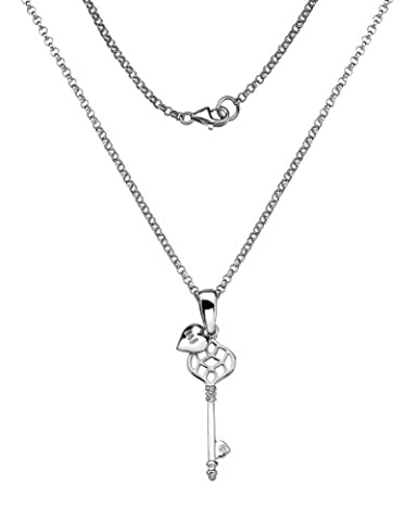 Lily & Lotty Rhodium Plated 925 Sterling Silver Hand Set Diamond Key and Heart Necklace of 50 cm