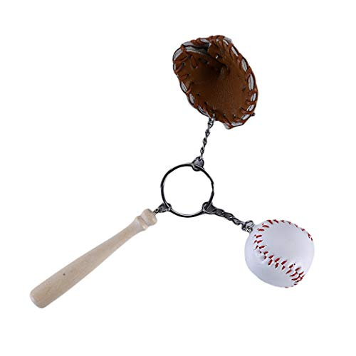 Buelgma Mini Baseballschläger Handschuhe Schlüsselbund Tragbare Auto Schlüsselanhänger Rucksack Hängende Ornamente Schlüsselanhänger Party Favors Supplies Geschenke Sportfans (Khaki)