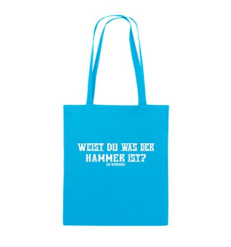 Comedy Bags - WEIST DU WAS DER HAMMER IST? - Jutebeutel - lange Henkel - 38x42cm - Farbe: Schwarz / Silber Hellblau / Weiss