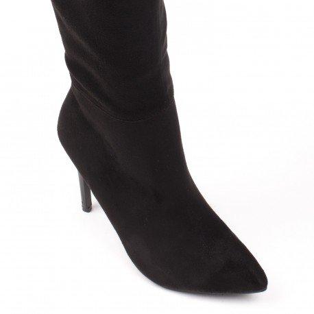 Ideal Shoes - Cuissardes effet daim Tamalia Noir
