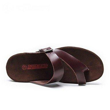 Herren Schuhe T-Strap flachem Absatz Leder Sandalen Schuhe Weitere Farben Braun