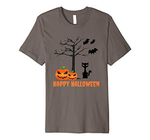 Süße schwarze Katze Jack O 'lanterns Fledermäuse Happy Halloween Tshirt (Halloween-jack O Niedliche Lanterns)