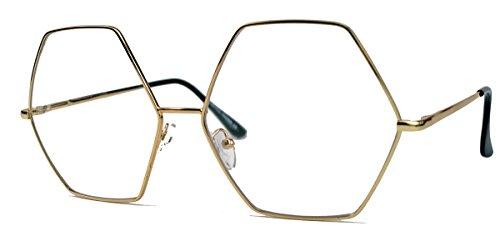 Großes Blogger Brillengestell für Damen Nerdbrille Metallrahmen gold Klarglas oversized 6eckig...