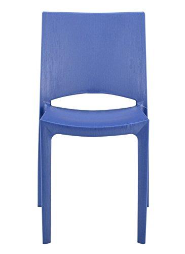 Grandsoleil Upon Woody Chaise empilable, Polypropylène, Bleu, 49 x 48 x 80.5 cm
