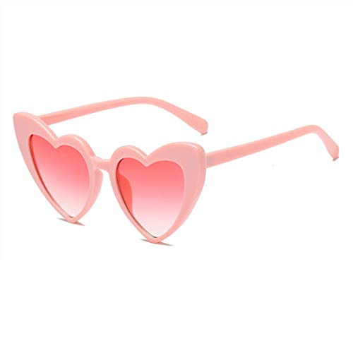 MWPO Sonnenbrille Liebe Herz Katzen Augen Niedlich Schießen Einkaufen Wandern Sonnenschirm UV-Schutzbrille (Farbe: Powder Frame Red Lens)