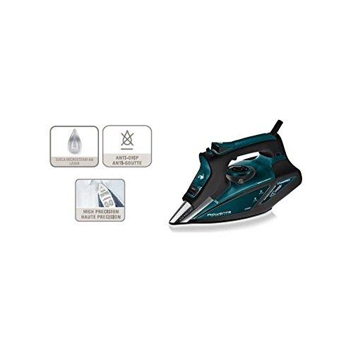 Rowenta DW8113 DW8113-Plancha (Plancha Vapor-seco, Microsteam 400 Soleplate, 2,5 m, 200, 40 g/min), 2700 W, 0.38 litros, Negro, Azul
