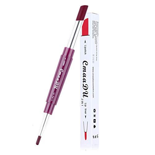TOWAKM Lippenstift,CmaaDu Doppelseitiger Dauerhafter Lipliner Wasserfester Lip Liner Stift 6 Farben