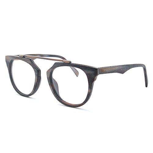 TIJN Vintage legno occhiali Full-Rim telaio trasparente lente occhiali C Medium