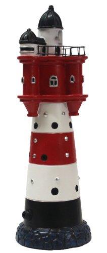 Leuchtturm Roter Sand ca 34 cm mit Leuchtfeuer Deko Dekoration Maritimes