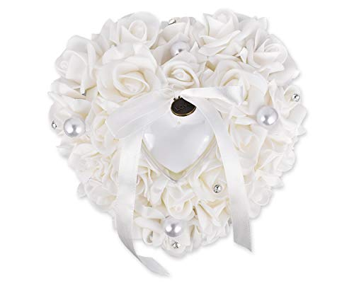 SCSpecial Anillo de bodas Ceremonia de almohada En forma de corazón Portador de anillo Cuña Cojín...