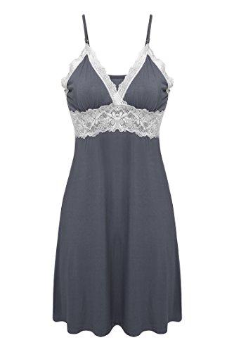Ekouaer Damen Nachtwäsche Spitze Negligee mit verstellbarem Schultergurt Nachtkleid