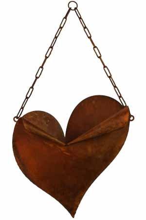 floristikvergleich.de Herz zum Bepflanzen aus Metall mit Kette Edelrost