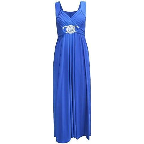 Da donna Le misure Plus con fibbia Waisted con estremità a sfera da sera lungo Maxi vestito (20/22, Blu reale)