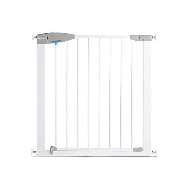 Lindam Sure Shut Porte Pressure Fit Safety Gate, White, 76-82 cm Lindam Easy close, push to shut closing mechanism; squeeze and lift handle for easy one handed adult opening Four point pressure fit - U shaped power frame provides solid pressure fitting; pressure indicator assures baby gate is installed correctly One way opening for use on bottom of stairs; two way opening for use in doorways providing maximum flexibility; optional second lock at base of baby gate 8