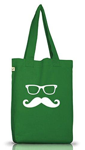 Shirtstreet24, NERD MUSTACHE, Moustache Bart Jutebeutel Stoff Tasche Earth Positive (ONE SIZE) Moss Green
