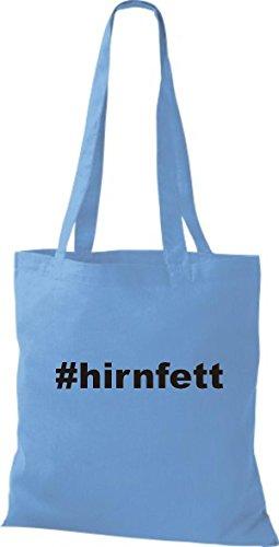 Shirtstown Stoffbeutel hashtag # hirnfett hellblau