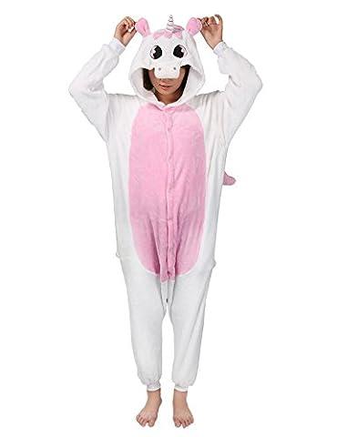 Très Chic Mailanda Unisex Erwachsene Schlafanzug Karneval Tier Cosplay Plüschtier Kapuzenkostüm(Blau Einhorn) (Size-L(165-175CM), Rosa (Rosa Einhorn-kostüm)