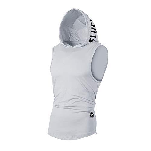 UJUNAOR Tank Top Herren Slim Fit Basic T-Shirt Tankshirt Mit Kapuze Ärmellos Muskelshirt Fitness Unterhemden(Grau,EU XL/CN 2XL)