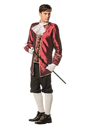 Marquise Kostüm Herren Oberteil Jabot und Kniebundhose Viktorianisches Herrenkostüm Karneval Fasching Hochwertige Verkleidung Größe 52 Dunkelrot