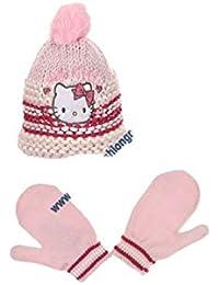 87701ce707c1 Hello kitty Bonnet maille et moufles bébé enfant fille Rose et Violet de  9mois à