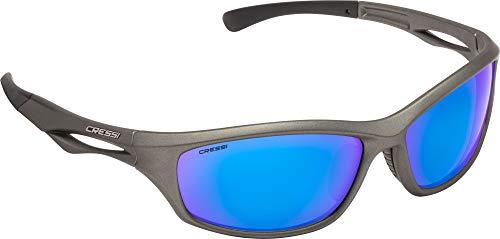 Cressi sniper sunglasses - occhiali sportivi da sole unisex adulto, grigio/lenti specchiate blu