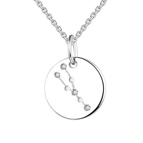 YL Silber Stier Halskette-925 Sterling Silber CZ Horoskop Sternzeichen 12 Konstellation Anhänger Halskette für Frauen und Mädchen