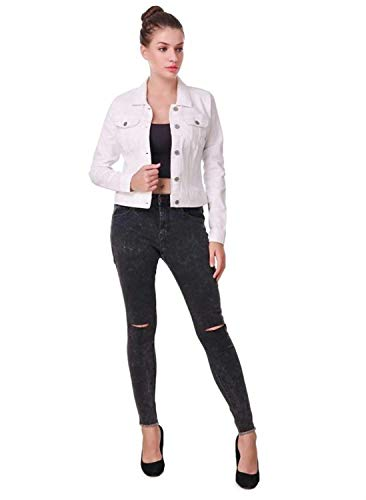 Kanzul Women's Full Sleeve Solid Denim Jacket (White, Large)