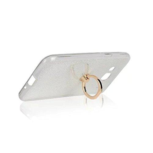 Luxus Bling Sparkle Style Case, Soft TPU [Silikon] Flexible Glitter Rückentasche mit Fingerring Stand [Anti Scratch] [Shockproof] für Samsung Galaxy J3 (2016) ( Color : Gold ) White