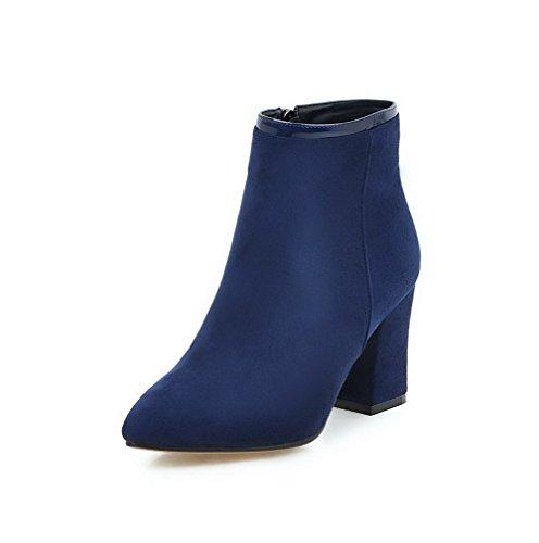 VogueZone009 Damen Hoher Absatz Mattglasbirne Niedrig-Spitze Reißverschluss Stiefel, Blau, 38