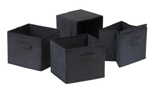 winsome-capri-foldable-fabric-baskets-set-of-4-black-by-winsome