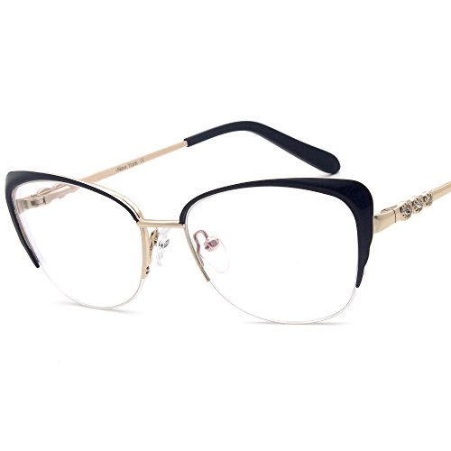 Women fashion Cat Eye Metal Half Frame Glasses Non-prescription eyewear Frames metal