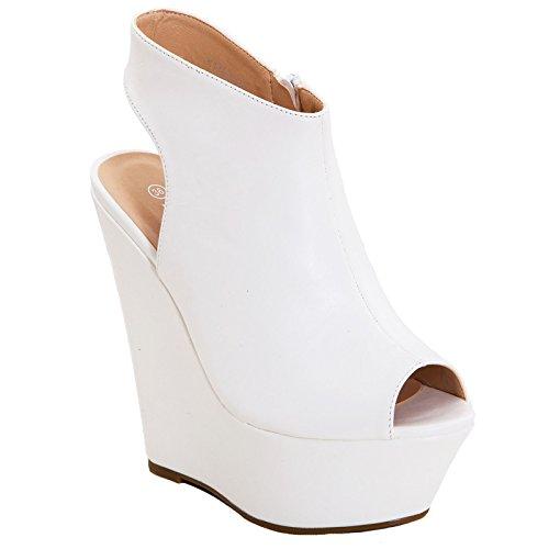 Toocool - Scarpe donna stivali stivaletti zeppa ecopelle sandali tacchi nuovi K1Z826-46 Bianco