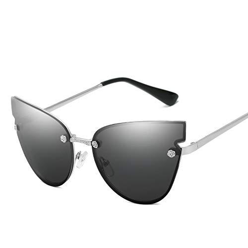 ZJWZ Metal Cat Eye Sonnenbrille Fashion Sonnenbrille Farbfilm reflektierende Damen Sonnenbrille,silverframe,fullgray