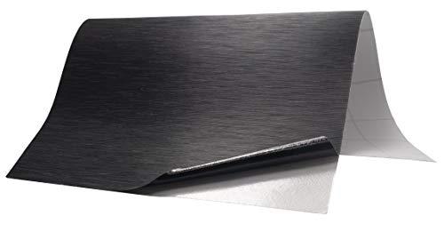 6,5€/m² Folie Edelstahl gebürstet - SCHWARZ - 50 x 152 cm blasenfrei selbstklebend flexibel Dekor Folie Auto Küche Klebefolie Schutzfolie