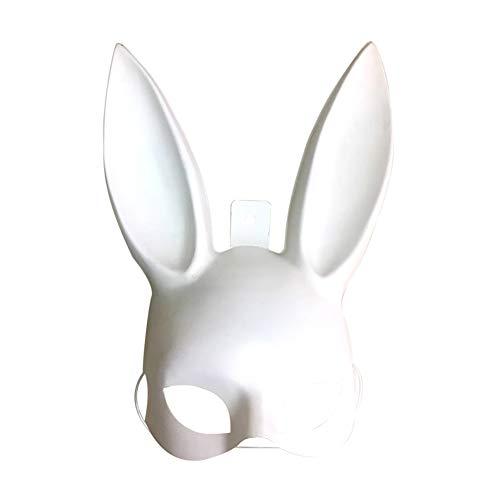 Deanyi 1pcs Häschen-Maske Frauen-Maskerade-Kaninchen-Maske für Geburtstag Ostern Halloween Eve-Partei-Kostüm-Zusatz (weiß) Sehr interessant der Partei Hüte, Masken und Zubehör (Easy Home Kostüm Frauen)