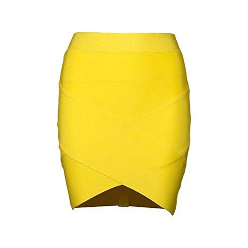 Whoinshop Damen Mini Business Pencil Rock Kleid Stretch Bleistiftrock Bleistiftröcke Kurz Hohe taille Gelb M