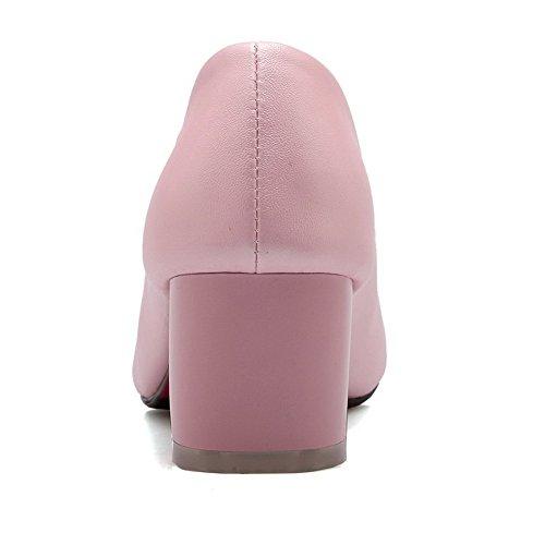 AllhqFashion Femme Tire à Talon Correct Pu Cuir Couleur Unie Fermeture D'Orteil Pointu Chaussures Légeres Rose
