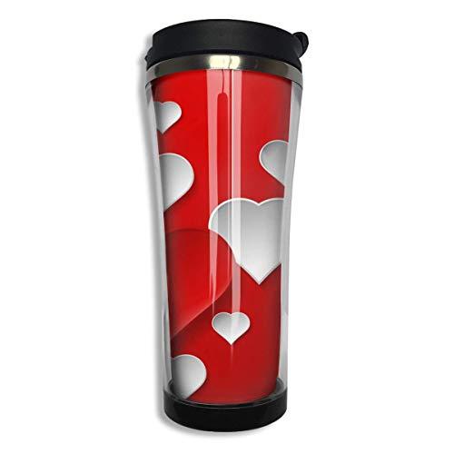 Bgejkos Red Heart Love Stainless Steel Coffee Mug 14.2 Oz Travel Mug Leakproof Insulated 16 Oz Sip-top