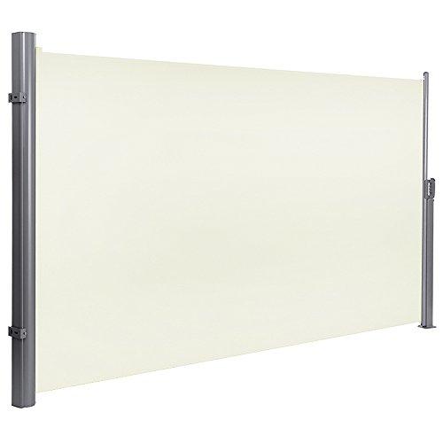 MCTECH® Seitenmarkise zertifiziert Sonnenschutz Sichtschutz Windschutz Terrasse Markise Polyester (1.6*3m, Beige) Sonnenschutz Für Terrasse