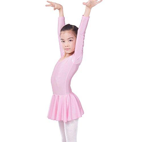 hibote Kindes Ballett lateinisches Tanzkleid Spandex langes sleeved Praxiskleidungsrosa (Kinder Tanz Kostüme Uk)