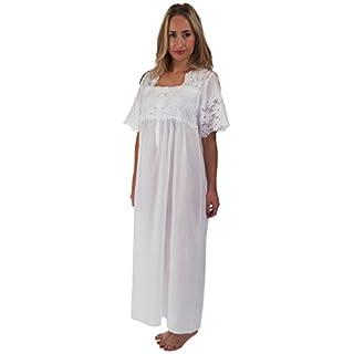 Inconnu The 1 for U 100% Coton Manches Courtes Femmes Nuit 6 Tailles - Elizabeth - Blanc, Blanc, XXL