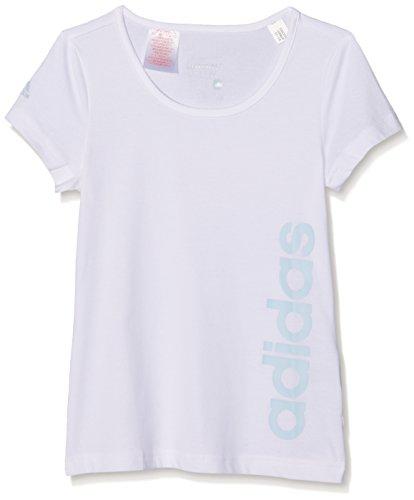 adidas Girls Essentials lineares T-Shirt, YG ESS Lin Tee, Blanco (Blanco/Azuhie)